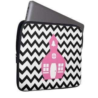 Pink Schoolhouse + Black Chevron Teacher Computer Sleeve