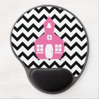 Pink Schoolhouse + Black Chevron Teacher Gel Mouse Pad