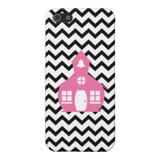 Pink Schoolhouse + Black Chevron Teacher Cover For iPhone 5
