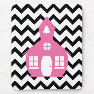 Pink Schoolhouse + Black Chevron Teacher Mouse Pad