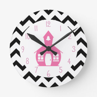 Pink Schoolhouse + Black Chevron Teacher Round Clock