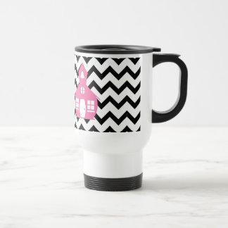 Pink Schoolhouse + Black Chevron Teacher Travel Mug