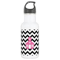 Pink Schoolhouse   Black Chevron Teacher Water Bottle