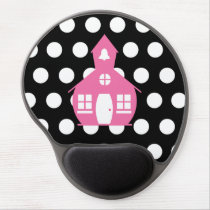 Pink Schoolhouse   Polka Dots Teacher Gel Mouse Pad