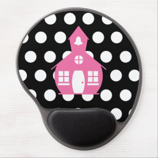 Pink Schoolhouse + Polka Dots Teacher Gel Mouse Pad