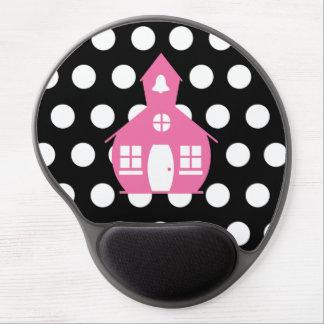 Pink Schoolhouse + Polka Dots Teacher Gel Mouse Pad