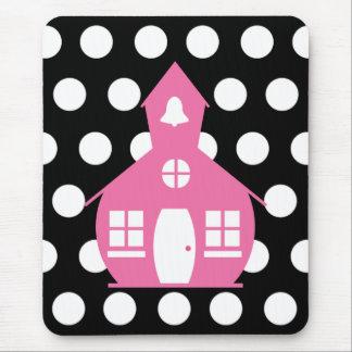 Pink Schoolhouse + Polka Dots Teacher Mouse Pad