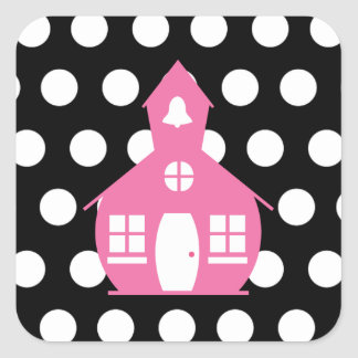 Pink Schoolhouse + Polka Dots Teacher Square Sticker