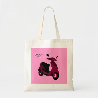 Pink Scooter Girl Custom Monogrammed Initials Tote Bag