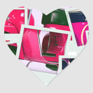 Pink Scooter Heart Stickers