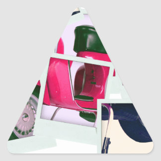 Pink Scooter Triangle Stickers