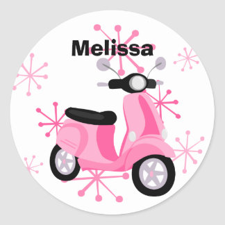 Pink Scooter Round Stickers