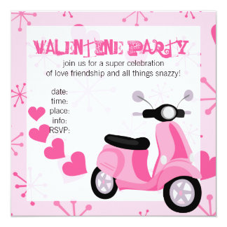 Pink Scooter with Hearts! Card