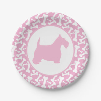 Pink Scottie and Buncha Bones Paper Plate