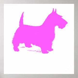 Pink Scottie Silhouette Poster