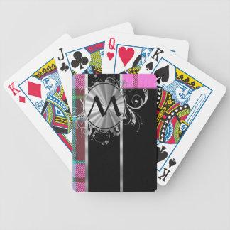 Pink Scottish tartan and silver monogram Bicycle Playing Cards