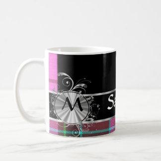 Pink Scottish tartan and silver monogram Coffee Mug
