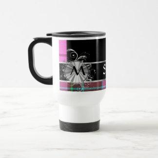 Pink scottish  tartan and silver monogram travel mug