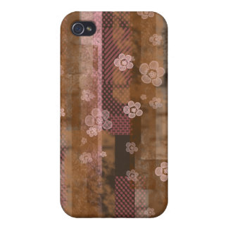 Pink Scrap Blossoms Cover For iPhone 4