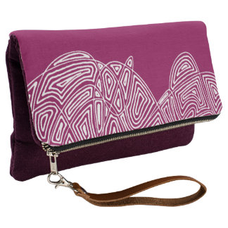 Pink Scribbleprint Waves Clutch