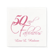 Pink Script 50th and Fabulous! Birthday Paper Napkin