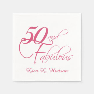 Pink Script 50th and Fabulous Birthday Paper Napkin