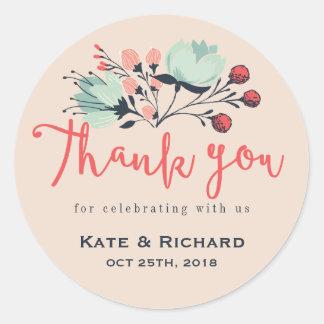 Pink Script Font Thank You Flower Wedding Sticker