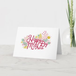 Pink Script with Flowers Mother's Day Card