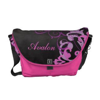 Pink Scroll Damask Name Black Messenger Bag
