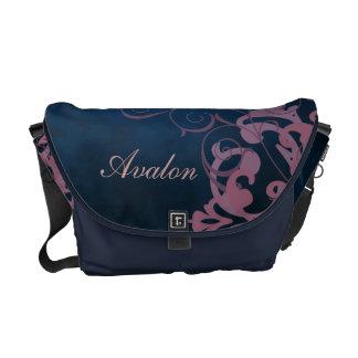 Pink Scroll Damask Name Blue Messenger Bag