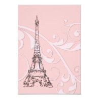 Pink Scrolls and Eiffel Tower 3.5x5 Paper Invitation Card