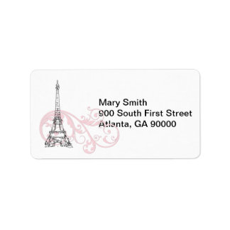 Pink Scrolls and Eiffel Tower Label