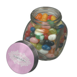 Pink Scrolls and Ribbons Wedding Glass Jar