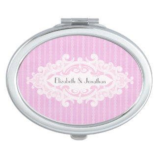 Pink Scrolls and Ribbons Wedding Mirror For Makeup