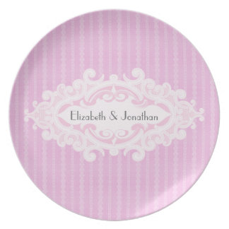 Pink Scrolls and Ribbons Wedding Plates