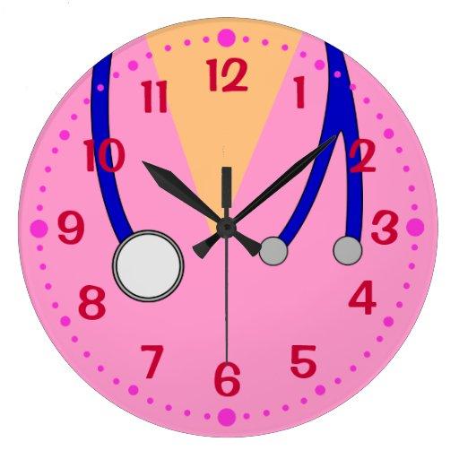 Pink Scrubs Fun Clock for Nurses Vets w/ Minutes