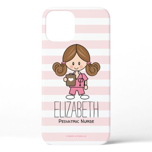 Pink Scrubs Nurse Brunette iPhone 12 Case