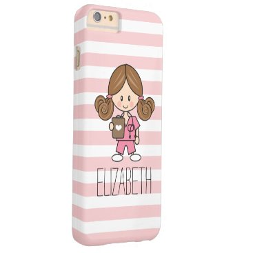 Beach Themed Pink Scrubs Nurse iPhone 6/6s Case Brunette