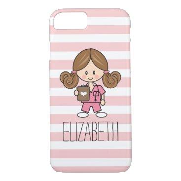 Beach Themed Pink Scrubs Nurse iPhone 7 Case Brunette
