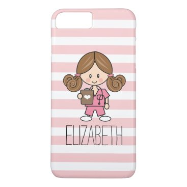 Beach Themed Pink Scrubs Nurse iPhone 7 Plus Case Brunette