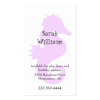 Pink Sea Horse Children Calling Card Double-Sided Standard Business Cards (Pack Of 100)