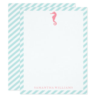 Pink Sea Horse on Mint Stripes Thank You Notes Card