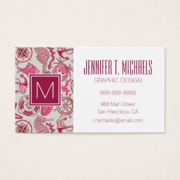 Beach Themed Pink Sea Pattern Business Card