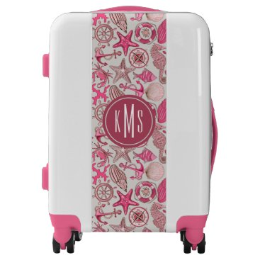 Beach Themed Pink Sea Pattern| Monogram Luggage