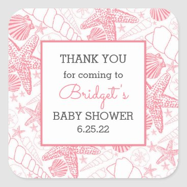 Beach Themed Pink Sea Shells baby shower favor thank you Square Sticker