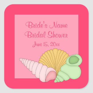 Pink Sea Shells Bridal Shower Stickers