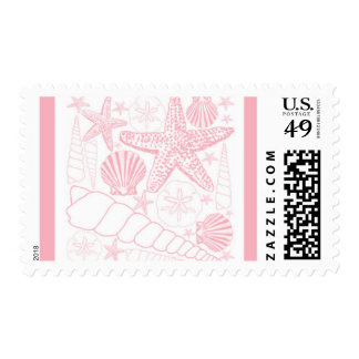 Pink Sea Shells collage postage stamp