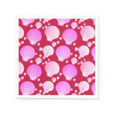 Beach Themed Pink sea shells on a burgundy background napkin