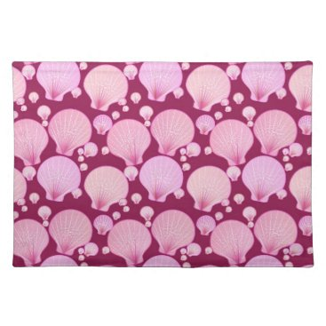 Beach Themed Pink sea shells on a burgundy background placemat