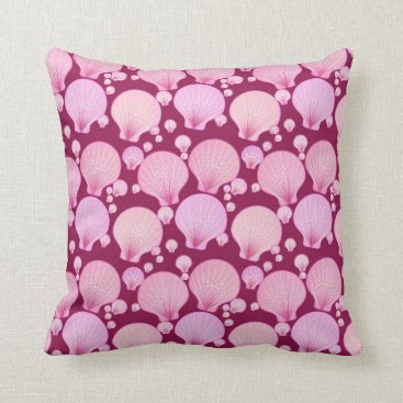 Beach Themed Pink sea shells on a burgundy background throw pillow